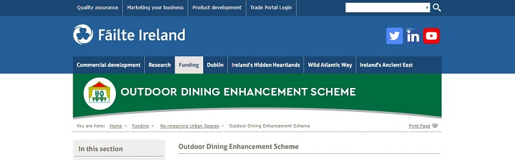 Failte Ireland announces outdoor dining supports